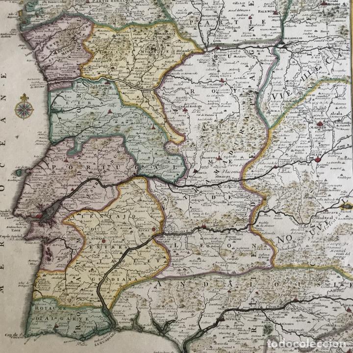Arte: Gran mapa de Portugal y el occidente de España, 1705. N. de Fer/Starckman - Foto 17 - 269732188