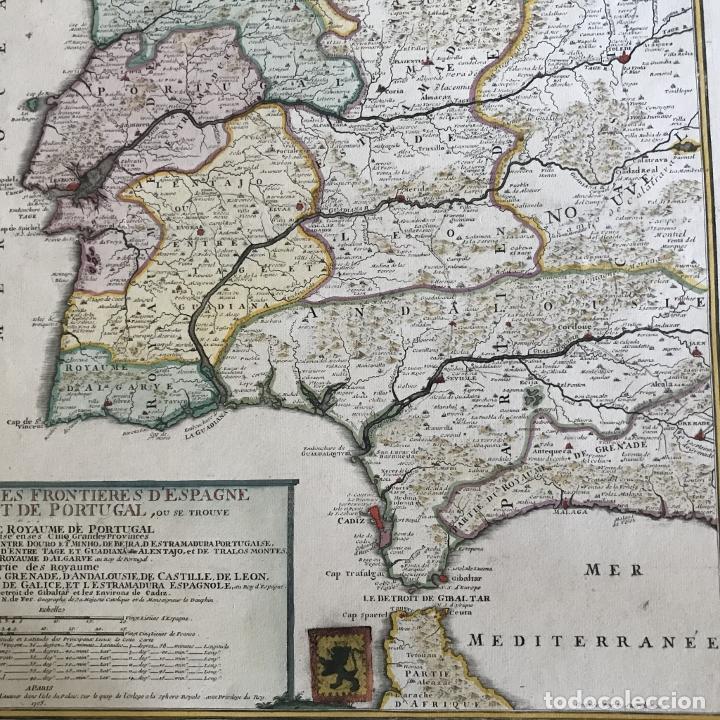 Arte: Gran mapa de Portugal y el occidente de España, 1705. N. de Fer/Starckman - Foto 18 - 269732188