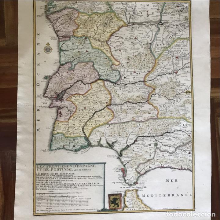 Arte: Gran mapa de Portugal y el occidente de España, 1705. N. de Fer/Starckman - Foto 19 - 269732188
