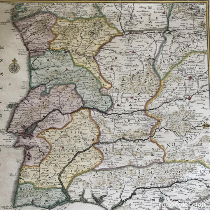 Arte: Gran mapa de Portugal y el occidente de España, 1705. N. de Fer/Starckman - Foto 20 - 269732188