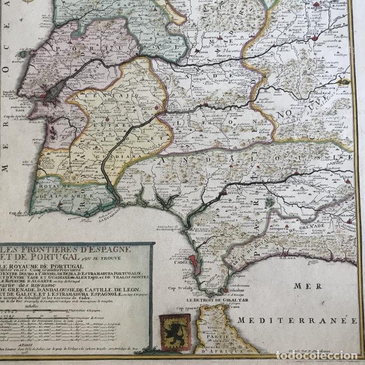 Arte: Gran mapa de Portugal y el occidente de España, 1705. N. de Fer/Starckman - Foto 21 - 269732188