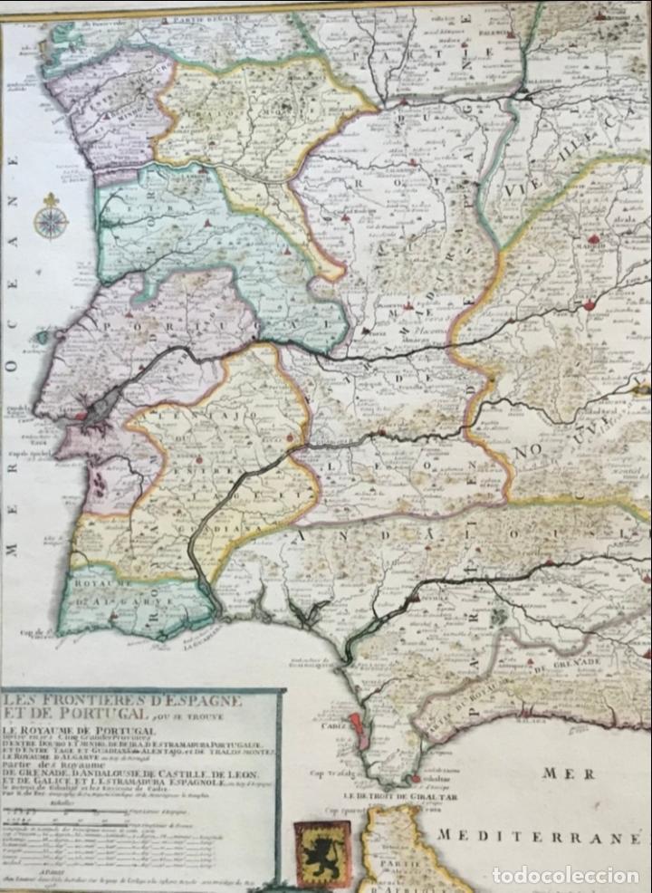 Arte: Gran mapa de Portugal y el occidente de España, 1705. N. de Fer/Starckman - Foto 23 - 269732188