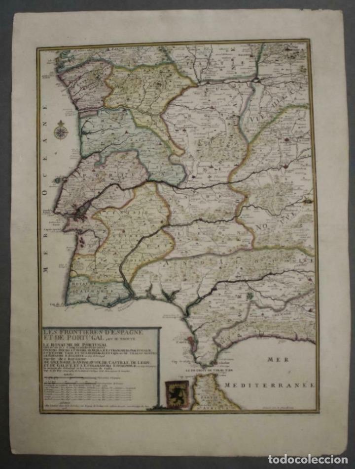 GRAN MAPA DE PORTUGAL Y EL OCCIDENTE DE ESPAÑA, 1705. N. DE FER/STARCKMAN (Arte - Cartografía Antigua (hasta S. XIX))