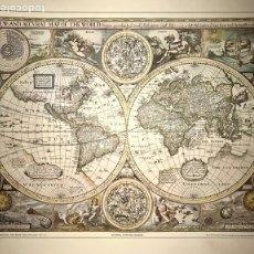Arte: MAPA MUNDI JOHN SPEED 1626 MUSEO NACIONAL MARITIMO REPRODUCCION CARTOGRAFIA POSTER. Lote 270133518