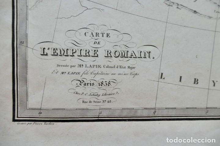 Arte: CARTE DE LEMPIRE ROMAIN -DRESSÉE PAR MR. LAPIE - PARIS 1838- 64 X 49 CM - Foto 3 - 270904823