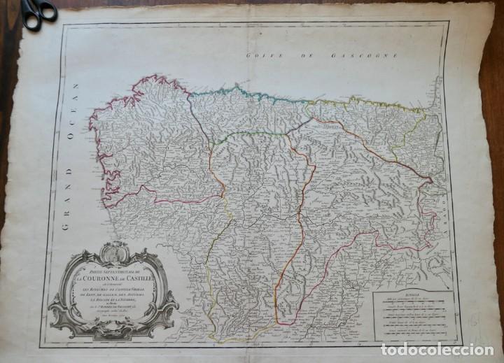 PARTIE SEPTENTRIONALE DE LA COURONNE DE CASTILLE -PAR SR ROBERT DE VAUGONDY 1752 (Arte - Cartografía Antigua (hasta S. XIX))