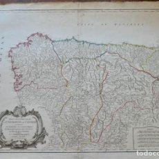 Arte: PARTIE SEPTENTRIONALE DE LA COURONNE DE CASTILLE -PAR SR ROBERT DE VAUGONDY 1752. Lote 270906218
