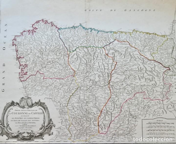 Arte: PARTIE SEPTENTRIONALE DE LA COURONNE DE CASTILLE -PAR SR ROBERT DE VAUGONDY 1752 - Foto 2 - 270906218