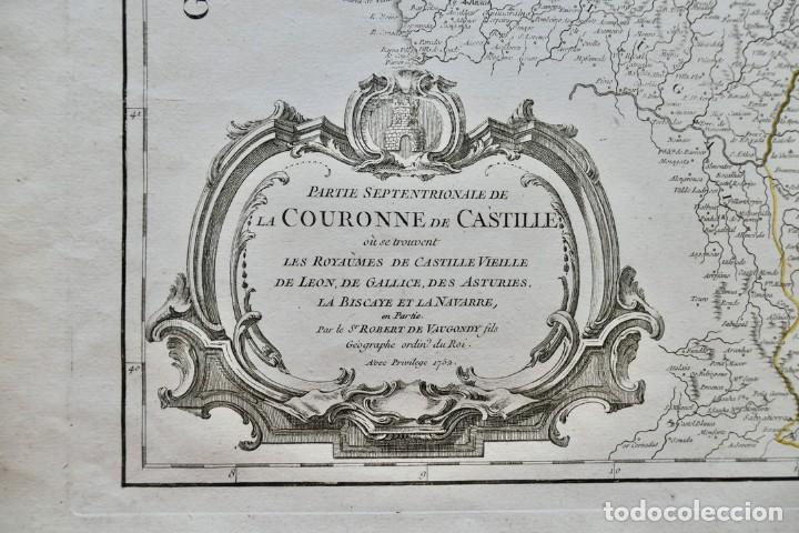 Arte: PARTIE SEPTENTRIONALE DE LA COURONNE DE CASTILLE -PAR SR ROBERT DE VAUGONDY 1752 - Foto 3 - 270906218