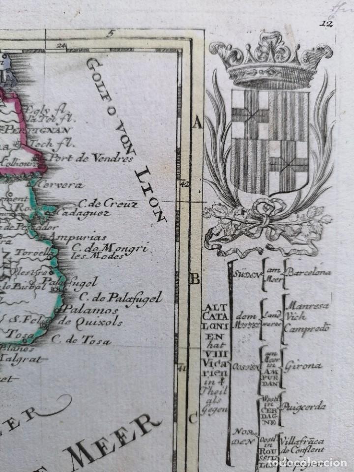 Arte: MAPA DE CATALUNYA - BODENEHR - AÑO 1717 - EDICION MODIFICADA - ORIGINAL - Foto 3 - 210580250