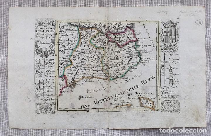 MAPA DE CATALUNYA - BODENEHR - AÑO 1717 - EDICION MODIFICADA - ORIGINAL (Arte - Cartografía Antigua (hasta S. XIX))