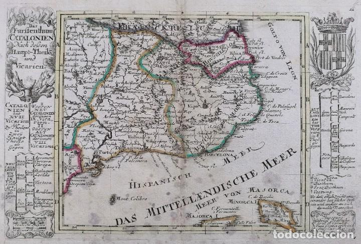 Arte: MAPA DE CATALUNYA - BODENEHR - AÑO 1717 - EDICION MODIFICADA - ORIGINAL - Foto 2 - 210580250