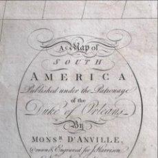 Arte: GRAN MAPA DE AMÉRICA DEL SUR, 1791. ANVILLE/HARRISON. Lote 274574733