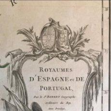 Arte: GRAN MAPA A COLOR DE ESPAÑA Y PORTUGAL, 1750. ROBERT DE VAUGONDY. Lote 275053138