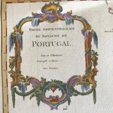 Arte: GRAN MAPA A COLOR DEL NORTE Y CENTRO DE PORTUGAL, 1752. VAUGONDY. Lote 275089233