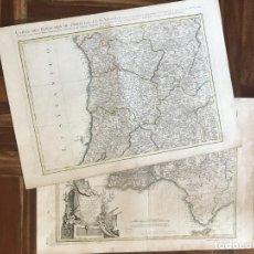 Arte: GRAN MAPA A COLOR DE PORTUGAL (EUROPA), EN DOS HOJAS INDEPENDIENTES, 1760. ZANNONI/LATTRÉ. Lote 276035683