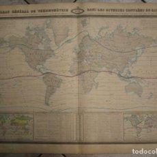 Arte: GRAN MAPA A COLOR DE LAS ZONAS CLIMÁTICAS DEL MUNDO, 1860. F.A. GARNIER. Lote 276084928
