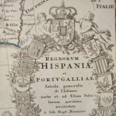 Arte: MAPA DE ESPAÑA, ORIGINAL,1720, HOMANN, NUREMBERG, SENSACIONAL ESTADO Y COLOREADO, GRAN TAMAÑO. Lote 276534233