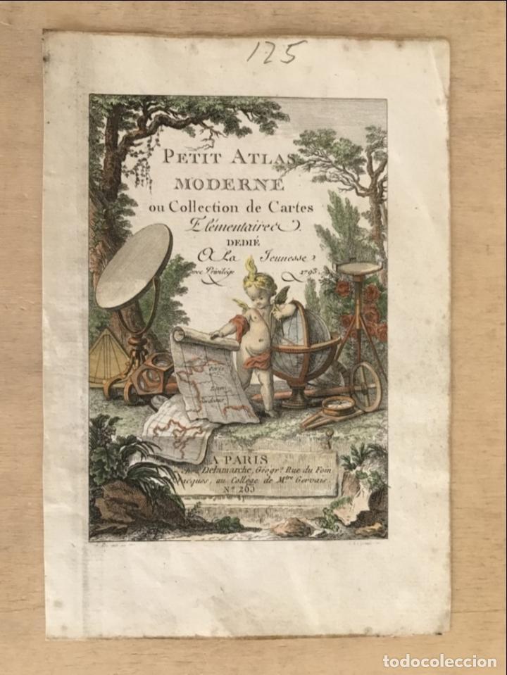 Arte: Portada y página de título de Atlas, 1793. Lattré/Delamarche - Foto 2 - 277635058