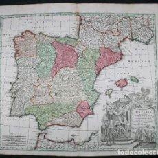 Arte: GRAN MAPA A COLOR DE ESPAÑA Y PORTUGAL, HACIA 1750. M. SILVA / DELISLE / SEUTTER. Lote 281823538