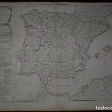 Arte: GRAN MAPA DE ESPAÑA Y PORTUGAL, 1797. VAUGONDY/DELAMARCHE. Lote 281864223