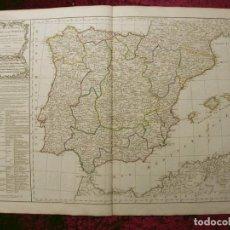 Arte: GRAN MAPA A COLOR DE ESPAÑA Y PORTUGAL, 1799. VAUGONDY/DELAMARCHE. Lote 281865808