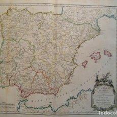 Arte: GRAN MAPA DE LA HISPANIA ROMANA (ESPAÑA Y PORTUGAL), 1750. VAUGONDY /SANSON / DELAHAYE. Lote 281988633