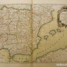 Arte: GRAN MAPA A COLOR DE ESPAÑA Y PORTUGAL, 1762. JEAN JANVIER / LATTRÉ & HERRISANT. Lote 282548803