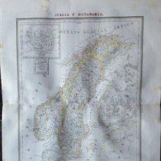 Arte: MAPA SUECIA Y DINAMARCA BARCELONA 1835. DOMINGO ESTRUE. CALCOGRÁFICO.. Lote 285672653
