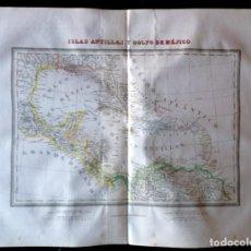 Arte: MAPA ISLAS ANTILLAS Y GOLFO DE MÉJICO DE TARDIEU. BARCELONA 1835. CALCOGRÁFICO.. Lote 286155483