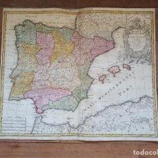 Arte: MAPA DE ESPAÑA, ORIGINAL,1720, HOMANN, NUREMBERG, SENSACIONAL ESTADO Y COLOREADO, GRAN TAMAÑO. Lote 286517078