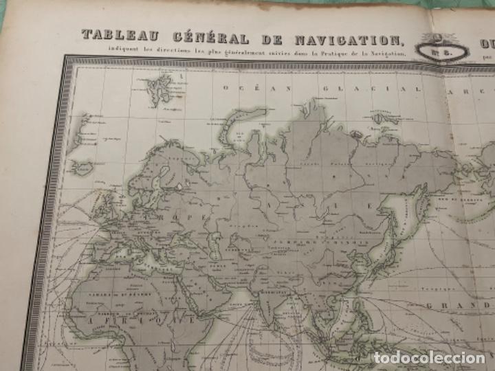 Arte: MAPA - TABLEAU GÉNÉRAL DE NAVIGATION OU DES ROUTES À TRAVERS LES OCÉANS MAPA 1860 - Foto 2 - 287844898