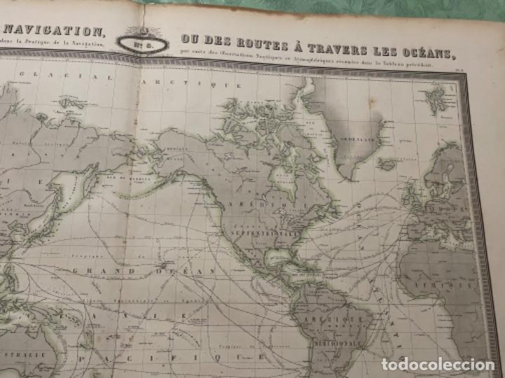 Arte: MAPA - TABLEAU GÉNÉRAL DE NAVIGATION OU DES ROUTES À TRAVERS LES OCÉANS MAPA 1860 - Foto 3 - 287844898