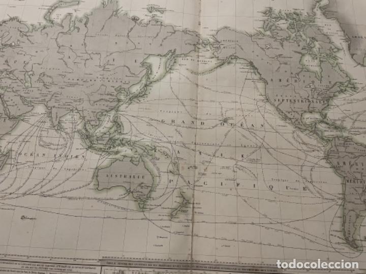 Arte: MAPA - TABLEAU GÉNÉRAL DE NAVIGATION OU DES ROUTES À TRAVERS LES OCÉANS MAPA 1860 - Foto 4 - 287844898