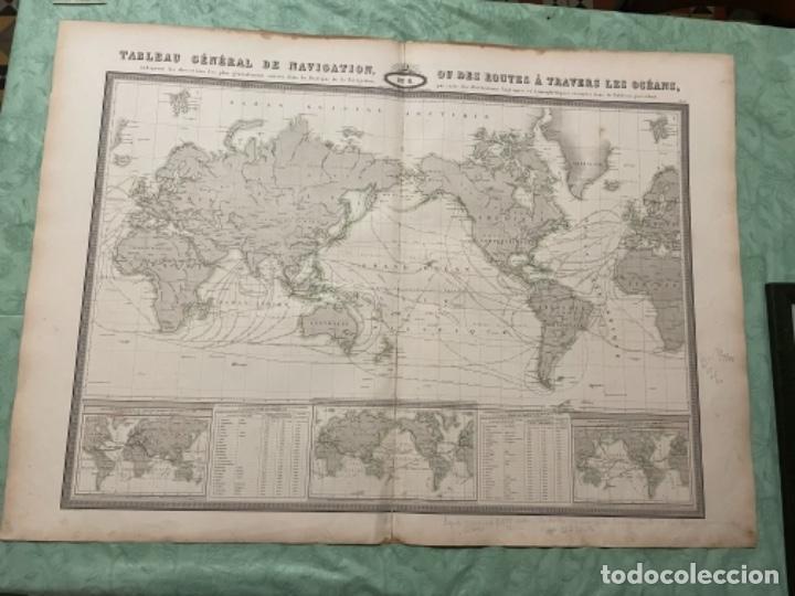 MAPA - TABLEAU GÉNÉRAL DE NAVIGATION OU DES ROUTES À TRAVERS LES OCÉANS MAPA 1860 (Arte - Cartografía Antigua (hasta S. XIX))