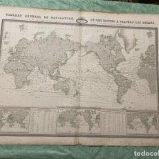 Arte: MAPA - TABLEAU GÉNÉRAL DE NAVIGATION OU DES ROUTES À TRAVERS LES OCÉANS MAPA 1860. Lote 287844898