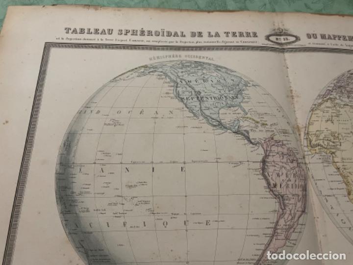 Arte: MAPA - TABLEAU SPHÉROIDAL DE LA TERRE OU MAPPEEMONDE EN DEUX HÉMISPHÈRES - ATLAS -1860 - Foto 2 - 287850223