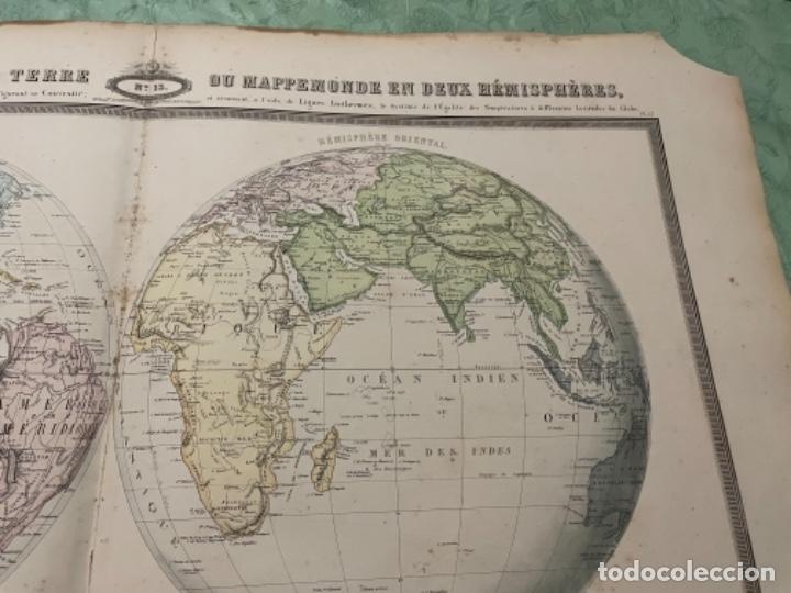 Arte: MAPA - TABLEAU SPHÉROIDAL DE LA TERRE OU MAPPEEMONDE EN DEUX HÉMISPHÈRES - ATLAS -1860 - Foto 3 - 287850223