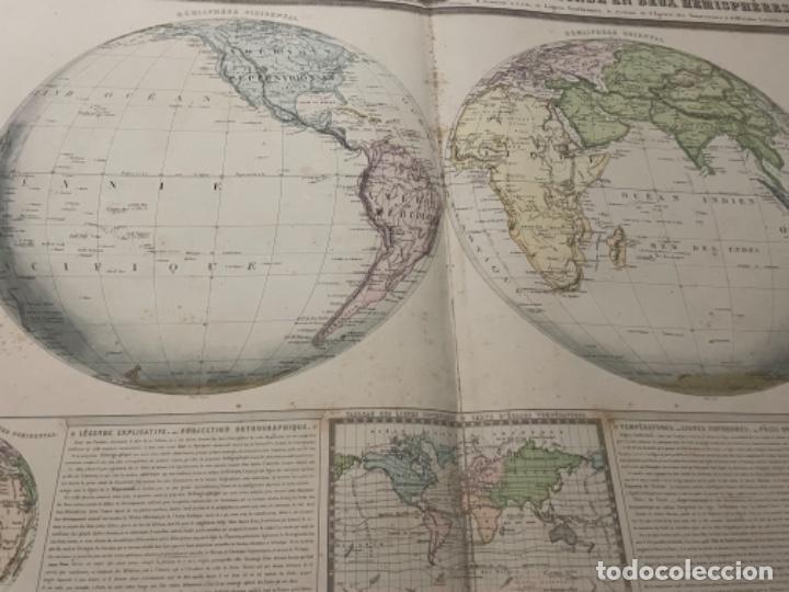 Arte: MAPA - TABLEAU SPHÉROIDAL DE LA TERRE OU MAPPEEMONDE EN DEUX HÉMISPHÈRES - ATLAS -1860 - Foto 4 - 287850223