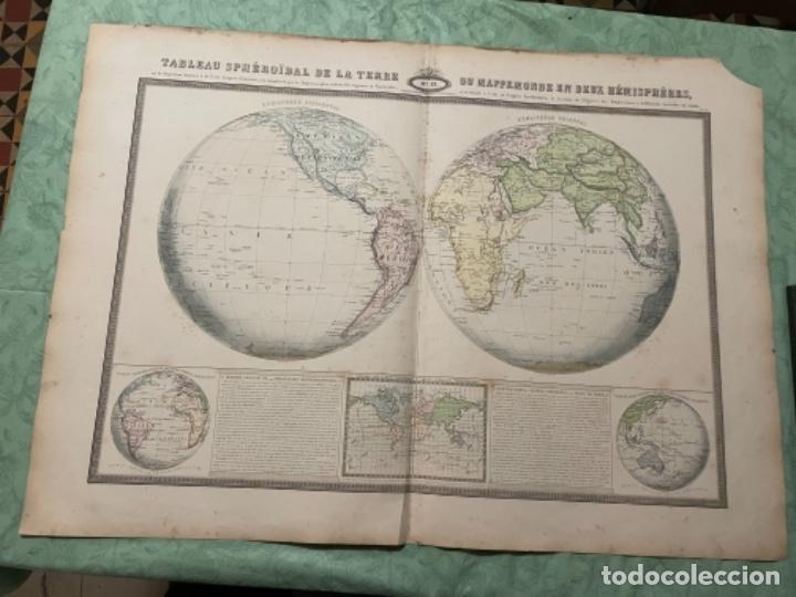 MAPA - TABLEAU SPHÉROIDAL DE LA TERRE OU MAPPEEMONDE EN DEUX HÉMISPHÈRES - ATLAS -1860 (Arte - Cartografía Antigua (hasta S. XIX))