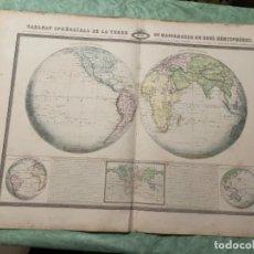 Arte: MAPA - TABLEAU SPHÉROIDAL DE LA TERRE OU MAPPEEMONDE EN DEUX HÉMISPHÈRES - ATLAS -1860. Lote 287850223