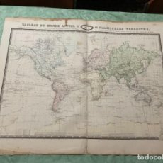 Arte: MAPA - TABLEAU DU MONDE ACTUEL DU PLANISPHÈRE TERRESTRE - ATLAS -1860. Lote 287850708
