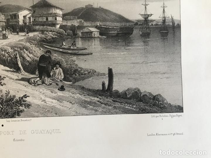 Arte: Puerto y ciudad de Guayaquil (Ecuador, América del sur), 1840. Vaillant/Bayot/Bische/Lauvergne - Foto 5 - 287870063