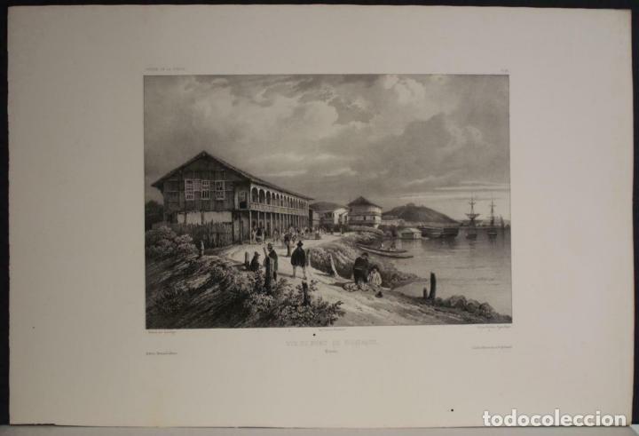 PUERTO Y CIUDAD DE GUAYAQUIL (ECUADOR, AMÉRICA DEL SUR), 1840. VAILLANT/BAYOT/BISCHE/LAUVERGNE (Arte - Cartografía Antigua (hasta S. XIX))