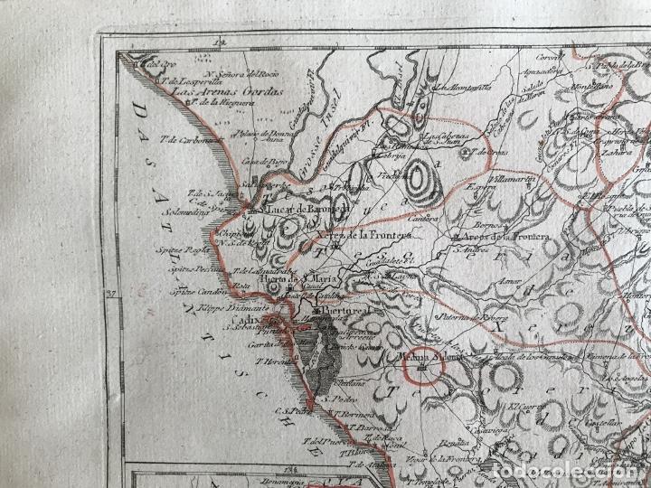 Arte: Mapa de Sevilla y Cádiz (Andalucía, España), 1789. Reilly - Foto 4 - 287914563