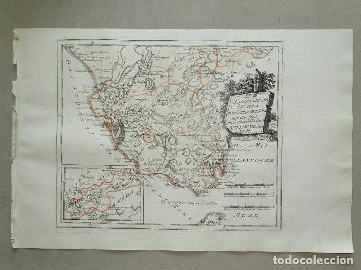 Arte: Mapa de Sevilla y Cádiz (Andalucía, España), 1789. Reilly - Foto 11 - 287914563