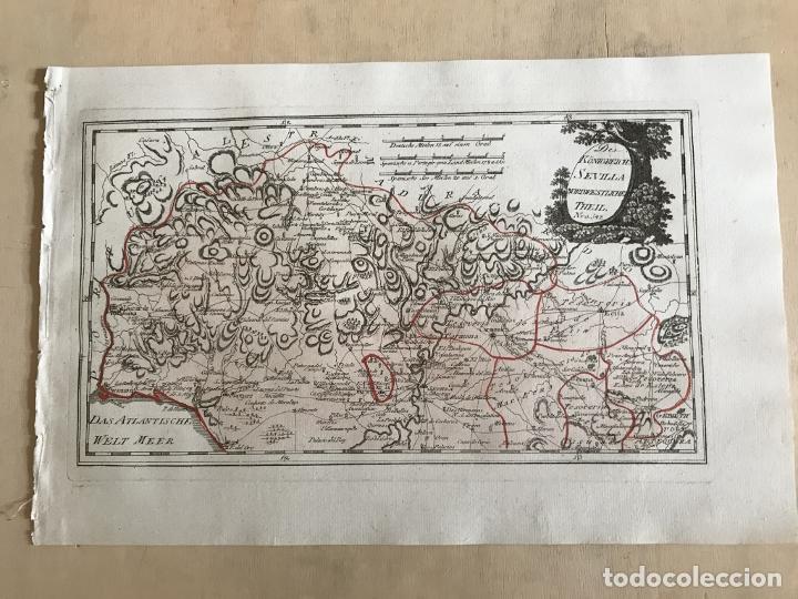 Arte: Mapa de Huelva y Sevilla (España), 1789. F. J. Joseph von Reilly - Foto 2 - 287917258