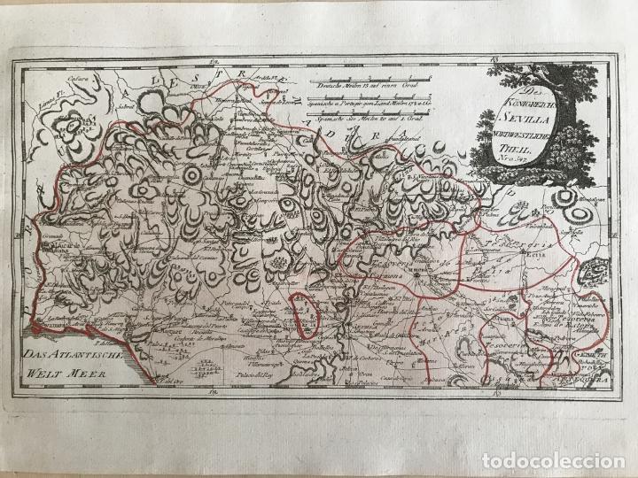 Arte: Mapa de Huelva y Sevilla (España), 1789. F. J. Joseph von Reilly - Foto 3 - 287917258