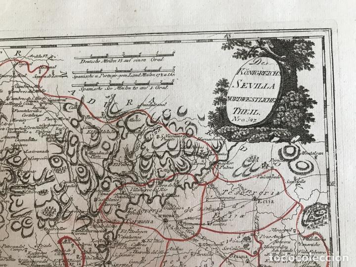 Arte: Mapa de Huelva y Sevilla (España), 1789. F. J. Joseph von Reilly - Foto 5 - 287917258