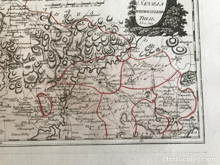 Arte: Mapa de Huelva y Sevilla (España), 1789. F. J. Joseph von Reilly - Foto 6 - 287917258